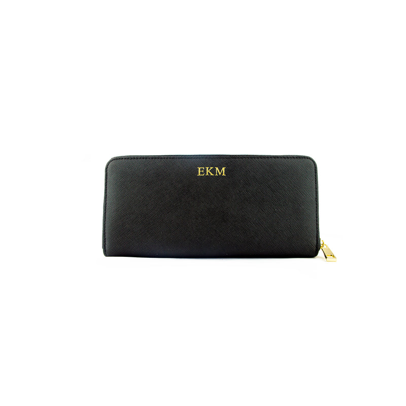 Personalised Zip Purse - Black Saffiano Leather