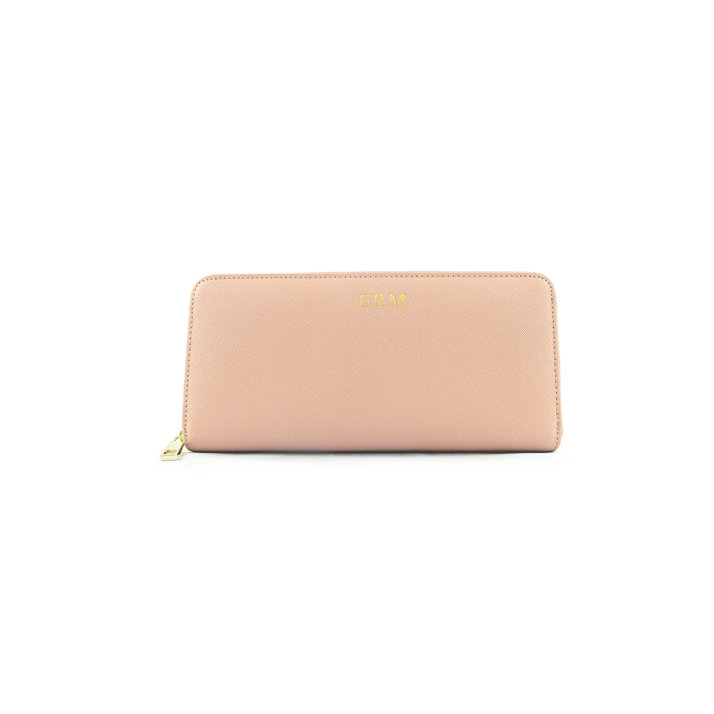 Personalised Nude Monogrammed Saffiano Leather Zip Purse