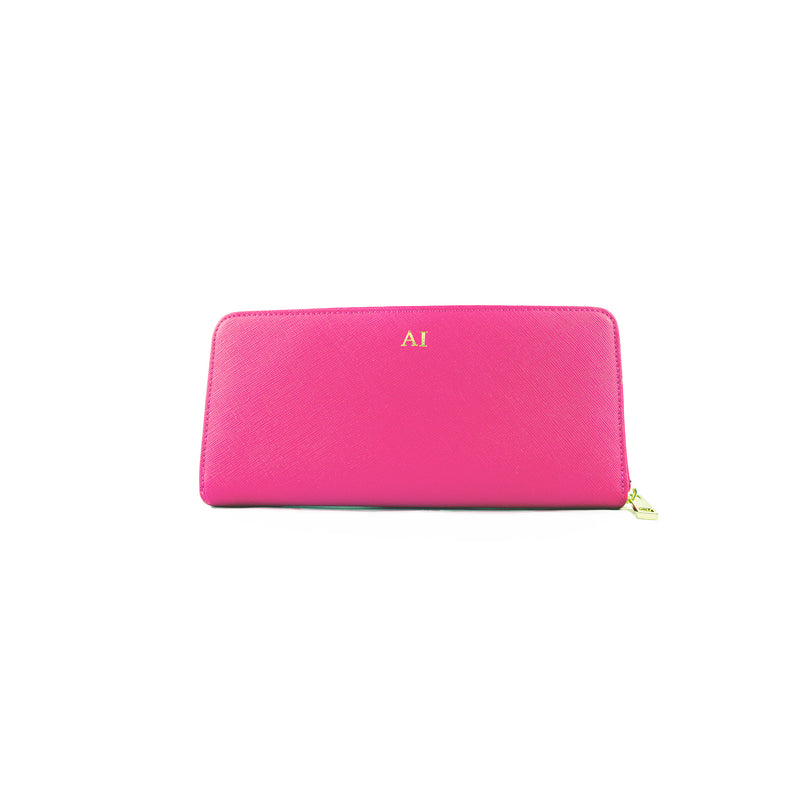Personalised Zip Purse - Pink Saffiano Leather
