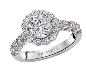 Romance Round Halo Semi-Mount Diamond Ring 117348-100K