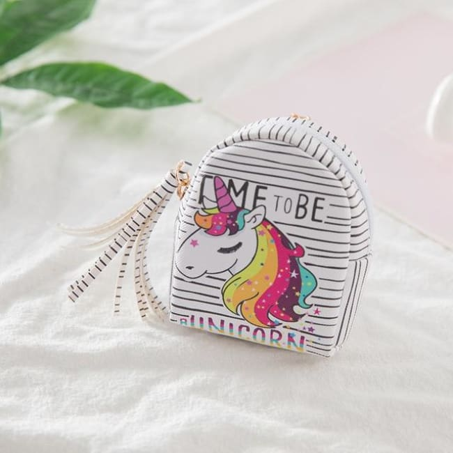 3Pcs Mini Cartoon Unicorn Bag/change Purse/keychain - 3Pcs Unicorn 002 - Luggage & Bags