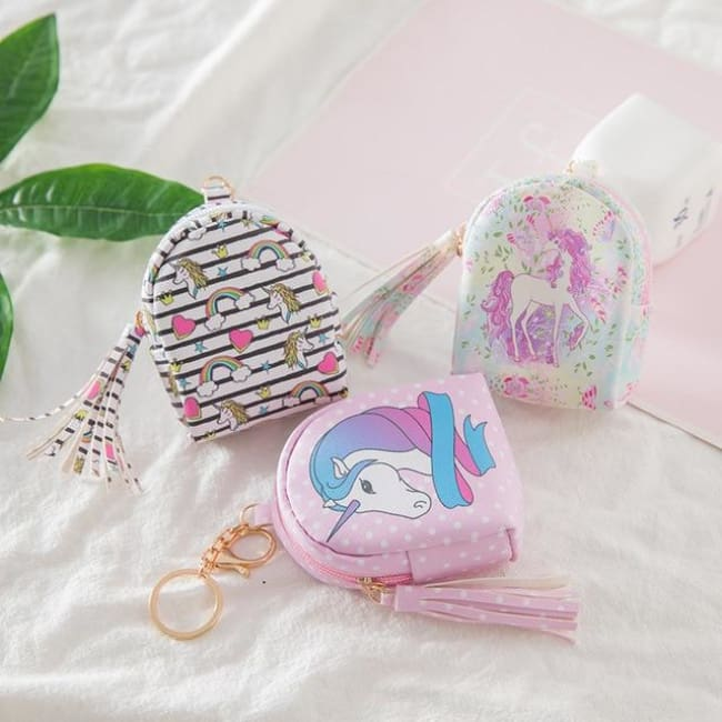 3Pcs Mini Cartoon Unicorn Bag/change Purse/keychain - 3Pcs Unicorn Mix 000 - Luggage & Bags