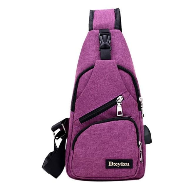Casual Luxury Anti Theft Backpack Usb - Purple / China - Luggage & Bags