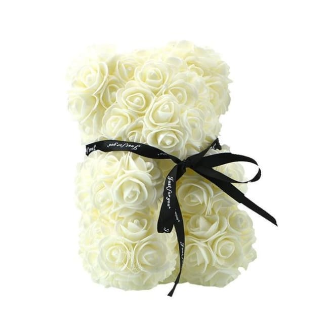 Handmade Valentines Day Rose Bear - 25Cm Cream - Home & Garden