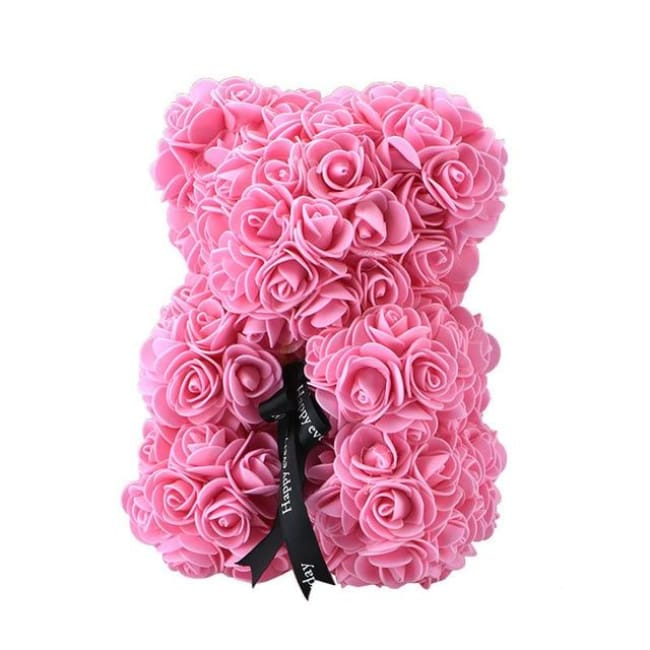 Handmade Valentines Day Rose Bear - 25Cm Pink - Home & Garden