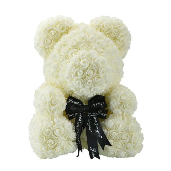 Handmade Valentines Day Rose Bear - 40 Cm Cream Ribbon - Home & Garden
