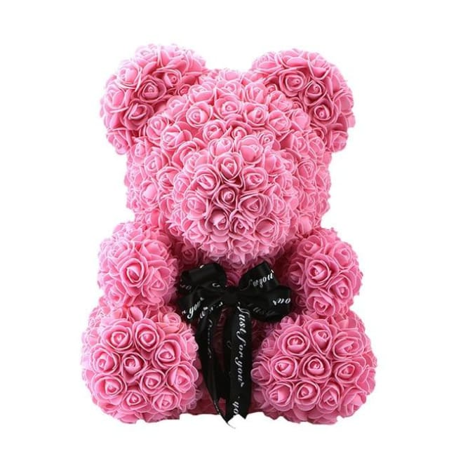 Handmade Valentines Day Rose Bear - 40 Cm Pink Ribbon - Home & Garden
