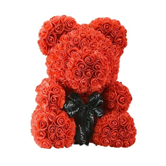 Handmade Valentines Day Rose Bear - 40 Cm Red Ribbon - Home & Garden