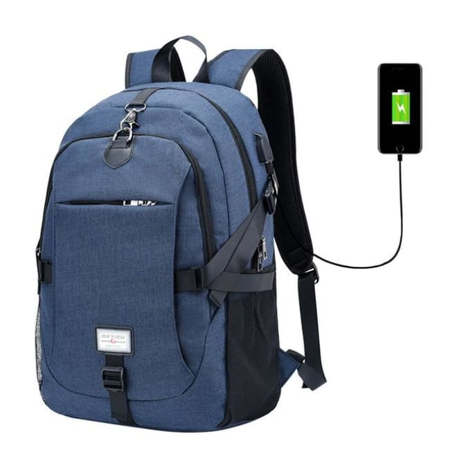 Luxury Waterproof Anti-Theft Backpack With Usb Charging - Blue / China - Luggage & Bags