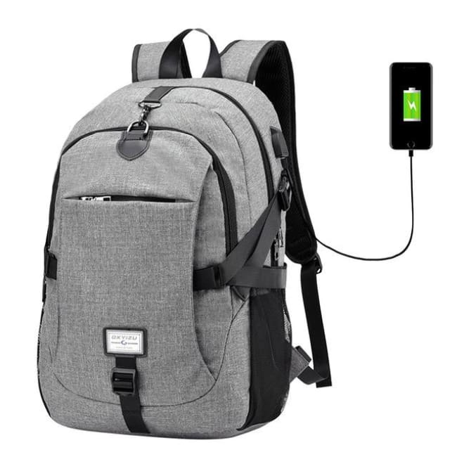 Luxury Waterproof Anti-Theft Backpack With Usb Charging - Gray / China - Luggage & Bags
