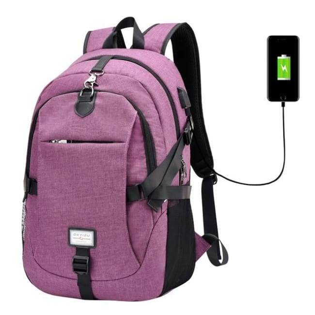 Luxury Waterproof Anti-Theft Backpack With Usb Charging - Purple / China - Luggage & Bags