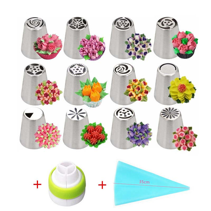 14pc/Set Nozzles with Easy Dispenser Valve & Russian Icing Tips
