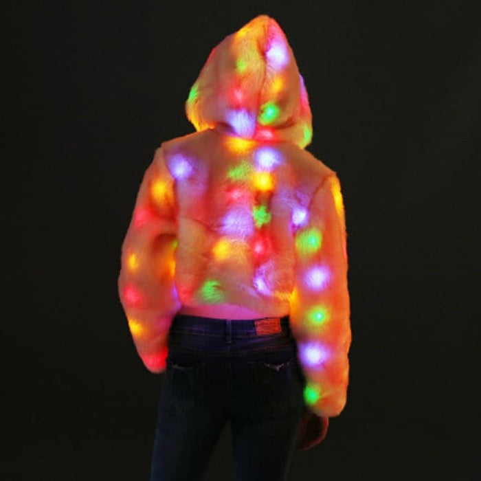 Rainbow Light Up Led Faux Fur Jacket - Novelty & Special Use