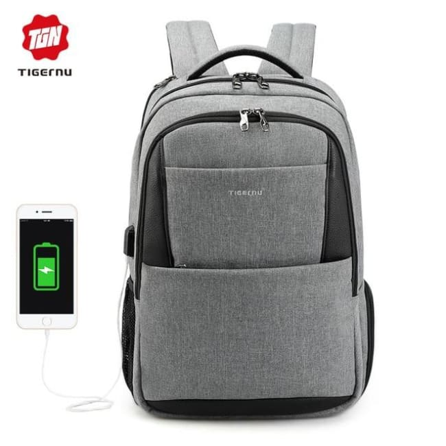 Waterproof Anti Theft Backpack For 15.6 Laptop Backpack - Grey 15.6Inch / China - Luggage & Bags