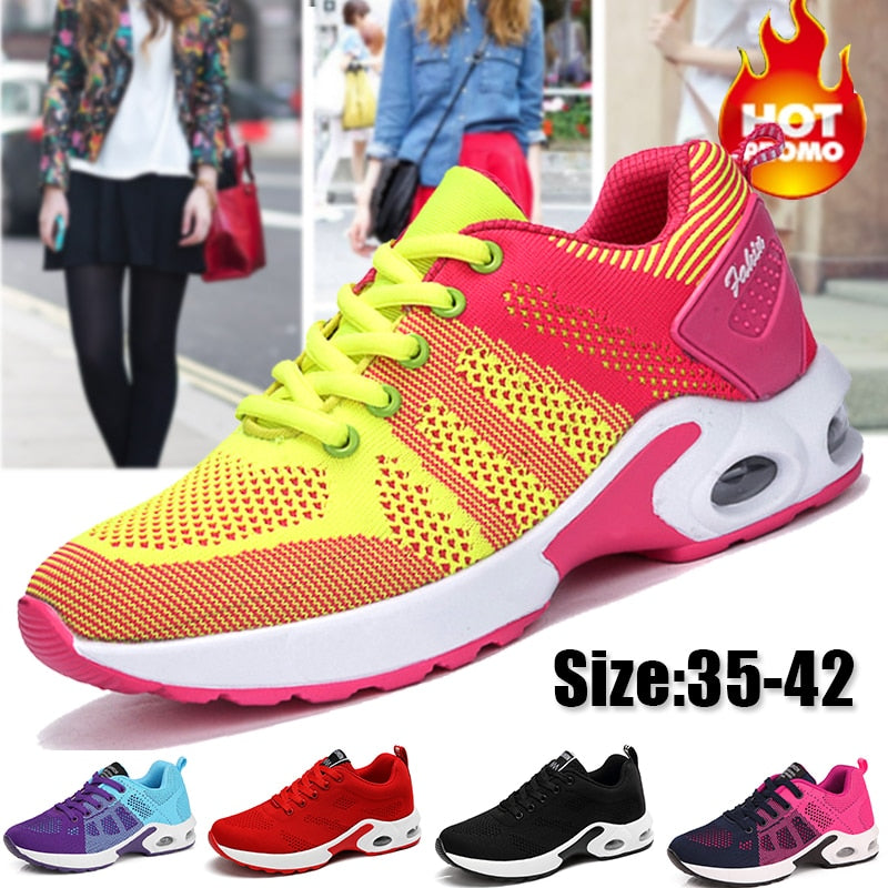 Fashion Women Lightweight Sneakers Running Shoes Outdoor Sports Shoes Breathable Comfort Ladies Sneakers Air Cushion Lace Up