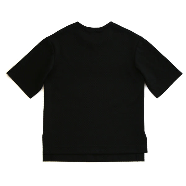 Black Logo-Print Textured T-Shirt