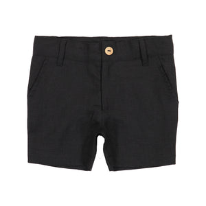 Lil Legs Black Linen Boy Shorts