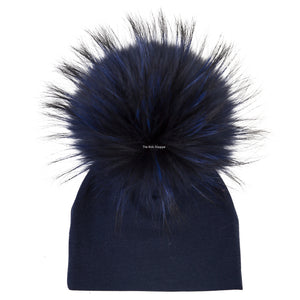 Navy Beanie with Navy Pom Pom