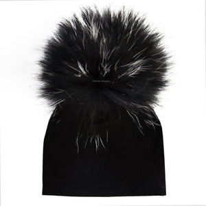 Black Beanie with Black & White Tips Pom Pom