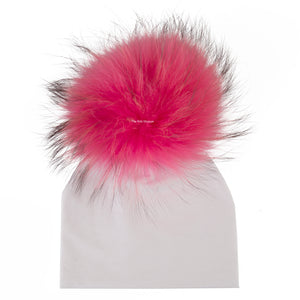 White Beanie with Hot Pink Pom Pom