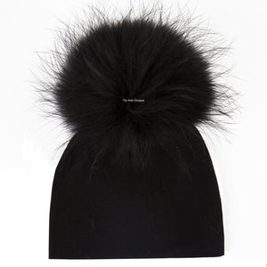 Black Beanie with Solid Black Pom Pom
