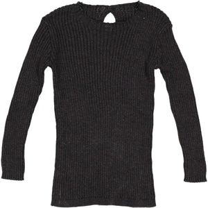 Marled Black Ribbed Knit Sweater By Analogie