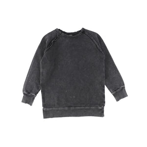 Lil Legs Raglan Black Wash Denim Sweater