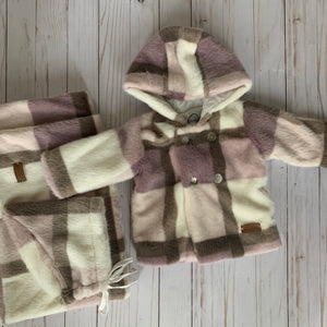 Cream Bebe SET Mauve Plaid Fur JACKET, HAT & BLANKET