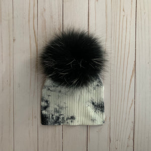 Tye Dye Ribbed Beanie with Black Pom Pom