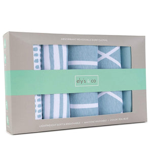 Ely's & Co Absorbent Burp Cloths Teal Collection