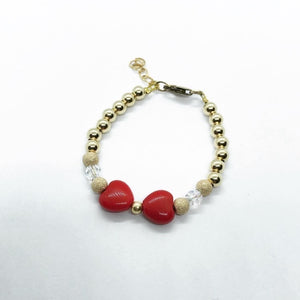 Gold Filled Red Bow Bracelet