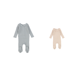 Lil Leg Ribbed SET,Ruffle/Collar Footie w/BONNET