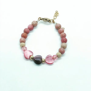 Pink Beaded Triple Heart Bracelet