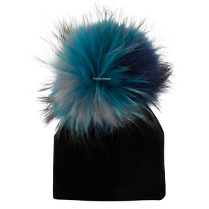 Velour Black Beanie with Teal Multi Color Pom Pom