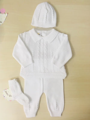 Dolce White Baby 4 Pc Knit  Bris Set