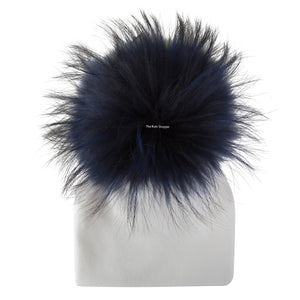 Velour White Beanie With Navy Blue Pom Pom