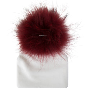 Velour White Beanie with Burgundy  Pom Pom