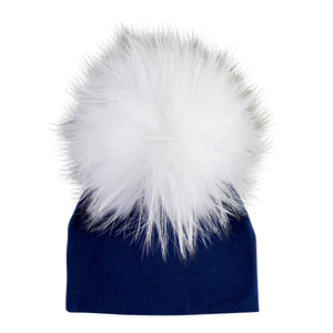Navy Beanie With A White Pom Pom