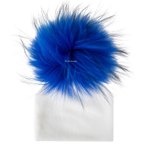 Velour White Beanie With Royal Blue Pom Pom