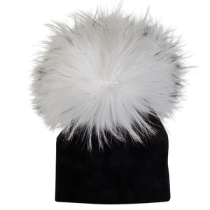 Velour Black Beanie with White Pom Pom
