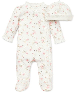 Little Me Ivory Floral 2 Pc Footie & Hat Set