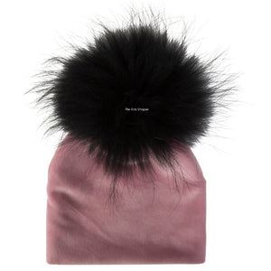 Velour Mauve Beanie with Black Pom Pom