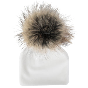 Velour White Beanie with Natural Pom Pom