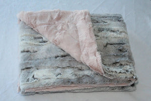 Zandino Mia Silver Light Pink Plush Baby Blanket