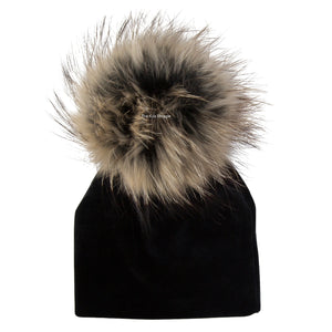 Velour Black Beanie with Natural Pom Pom