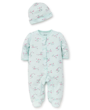 Little Me Mint Floral 2 Pc Footie & Hat Set