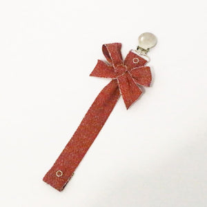 Baby O Red Fuzzy Bow Paci Clip