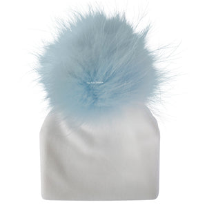 Velour White Beanie With Soft Blue  Pom Pom