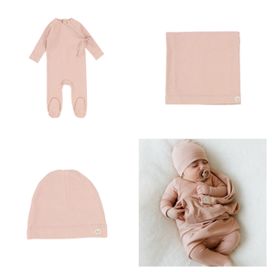 Lil Legs Brushed Cotton Dusty Pink Wrapover 3 Pc Take Me Home Set