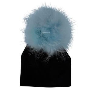 Velour Black Beanie with Soft Blue Color Pom Pom